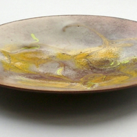 enamel dish - scrolled yellow over brown