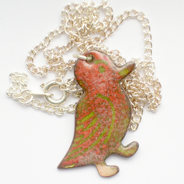enamel pendant - duck - red over golden brown