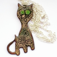 Enamel pendant - black cat