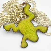enamel pendant - yellow-green frog