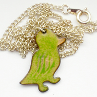 enamel pendant - small duck, green over golden brown