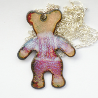enamel pendant - large teddy bear