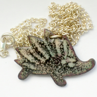 enamel pendant - hedgehog no.1