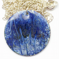 round enamel pendant - blue on white