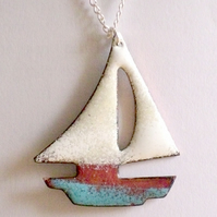 Enamel pendant - boat with turquoise hull and white sails