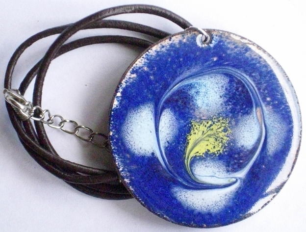 large enamel pendant - scrolled white and gold on blue over clear enamel
