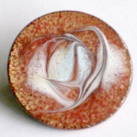 enamel brooch - round: scrolled white, brick red over clear