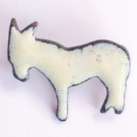 Brooch - cream donkey