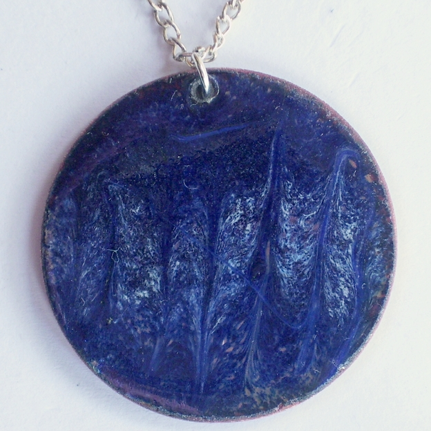 pendant - scrolled white on dark blue