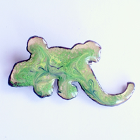 brooch - green lizard