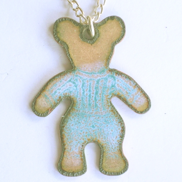 pendant - bear in blue striped shirt and blue pants
