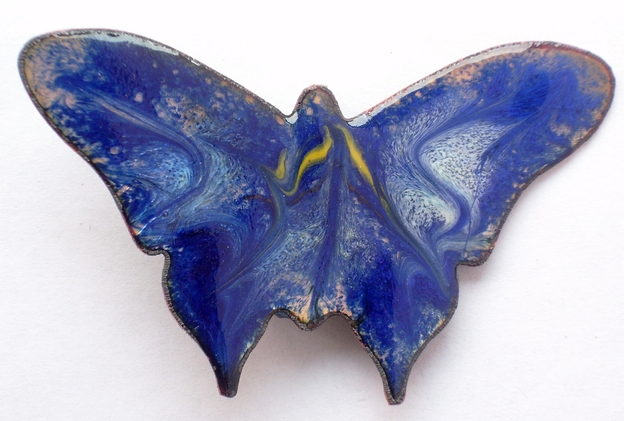 brooch - butterfly scrolled white and gold on blue over clear enamel