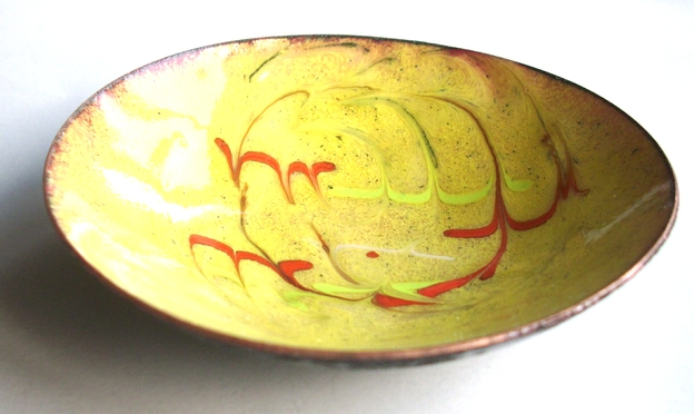 Enamel dish -scrolled red and yellow on golden-yellow over clear enamel