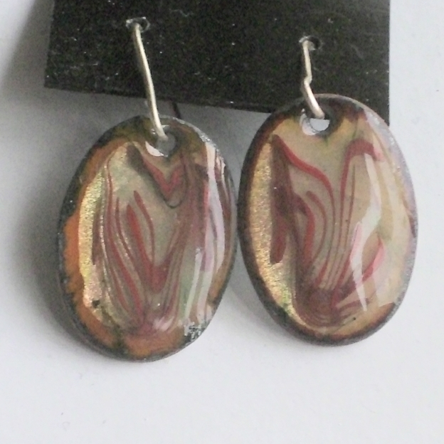 Earrings - oval scrolled red-brown over clear enamel