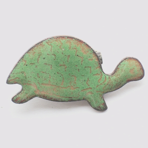 brooch - tortoise: green over clear enamel