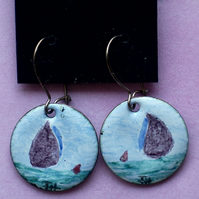 earrings - painted enamel: brown sails boat