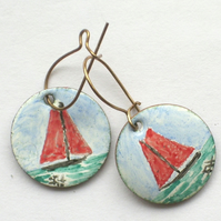 earrings - painted enamel: red sails boat