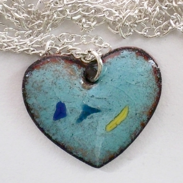 pendant - heart: blue, green and yellow chip on turquoise