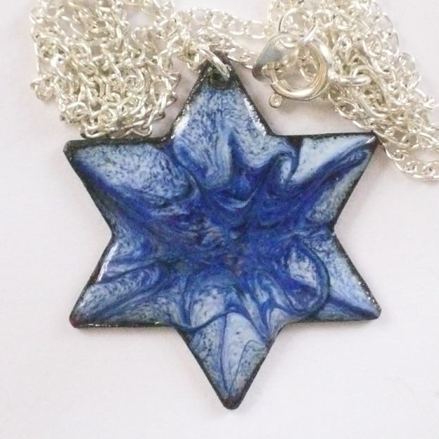 pendant - 6 pointed star scrolled dark blue and purple on pale blue
