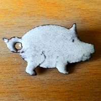 brooch - white pig