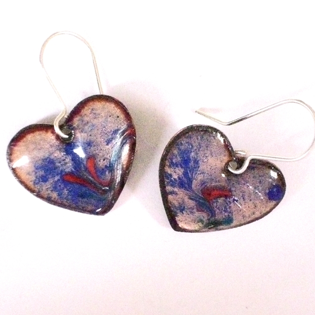 earrings - heart: scrolled red on blue over clear enamel