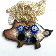 pendant - millefiore pattern on clear enamel