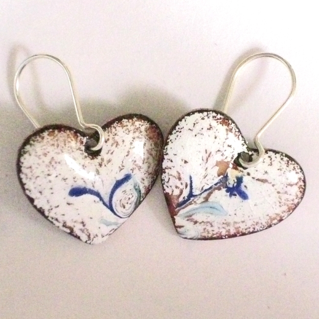 earrings - heart: scrolled blue on white over clear enamel