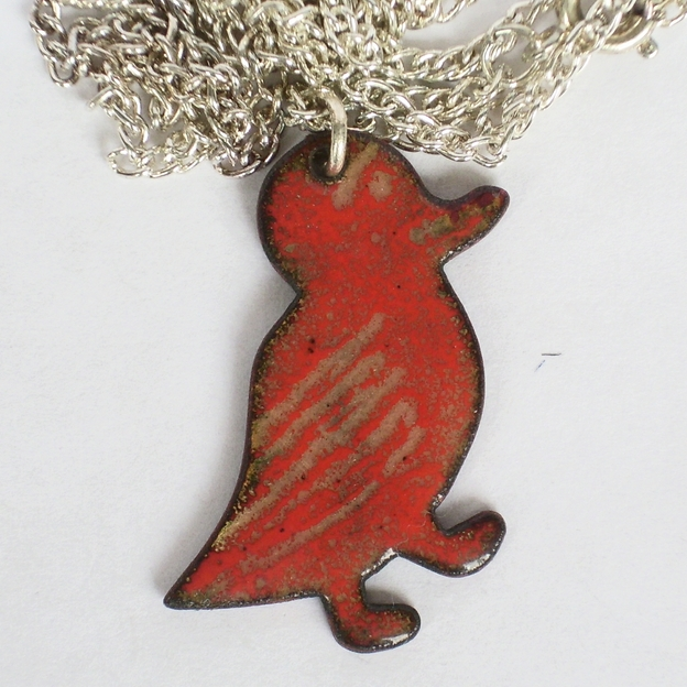 enamel pendant - duck - red over golden brown No.2