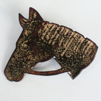 large horsehead brooch - black over clear No2