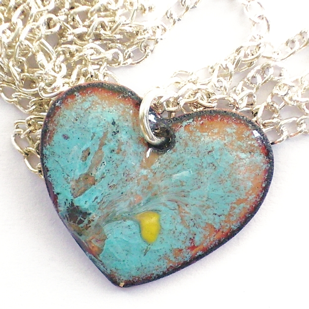 pendant - small heart scrolled yellow on turquoise over clear enamel