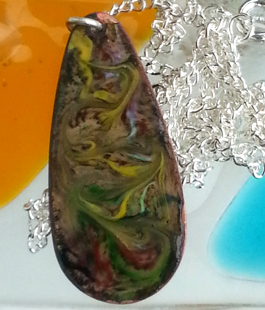 pendant - long drop: scrolled yellow, green, white, red over clear