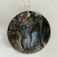 pendant - medium round scrolled blue, red, grey over white