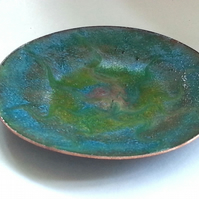 enamel dish - scrolled pink and gold over turquoise