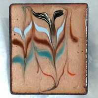brooch - rectangular - scrolled rod on clear enamel