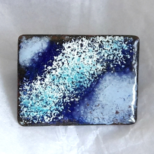 brooch - rectangular - blues with white