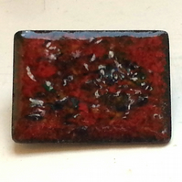 brooch - rectangle: enamel chip on red