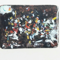 brooch - rectangle: enamel chip on black