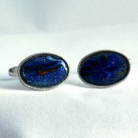 enamel cufflinks - oval: scrolled red on blue over clear