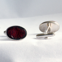 enamel cufflinks - oval: striped red and black over clear enamel
