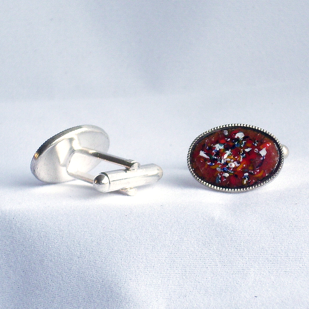 enamel cufflinks - oval: enamel chip on red