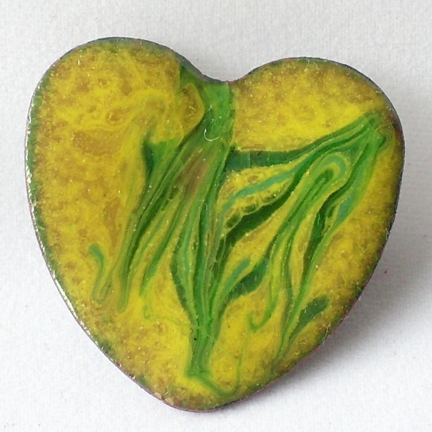 brooch -heart, scrolled green on yellow over clear enamel