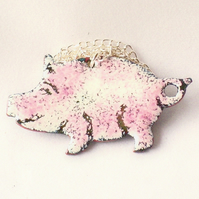 pendant - pink and white pig