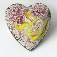 brooch - heart, scrolled yellow and gold on purple over white