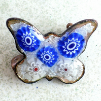 brooch - butterfly, millefiore over silver