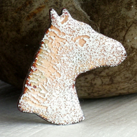 brooch - White horse-head
