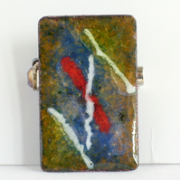 brooch - rectangle: red and white enamel rod on blue and clear