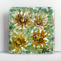 brooch - painted enamel, sunflowers