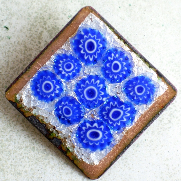 brooch - square, blue millefiore on silver