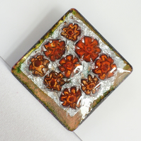 brooch - square, red millefiore on silver