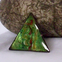 brooch - small triangle scrolled red and yellow on green over clear enamel